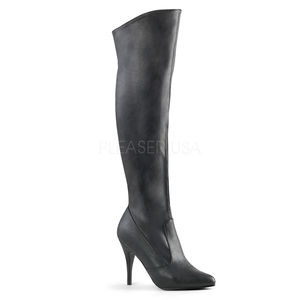 Shoes - 4 Inch High Heel Pull-On Cuff Knee High Boots